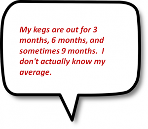 My kegs are out for 3 months or more.